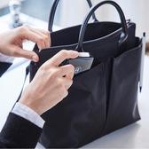 尼龍公文包女職業手提側背包托特文件包新款時尚商務包女 韓國時尚週