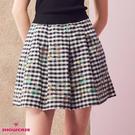 【SHOWCASE】格紋刺繡花紋百褶短裙(黑)