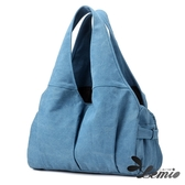 【Lemio】曲線肩背休閒包(湖水藍)
