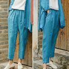 訂製孔雀藍色織亞麻褲/設計家 K9336