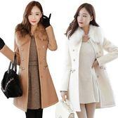 秋冬季加厚雙排扣毛呢外套女式妮子呢子白色甜美圓領修身大衣風衣