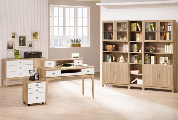 【森可家居】金美4尺電腦桌(上座+下座) 7ZX625-3+4 書桌 木紋質感 無印北歐風