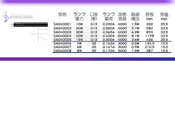 日本三共 SANKYO DENKI TUV UVA 20W BLB T8黑燈管 _ SA040002