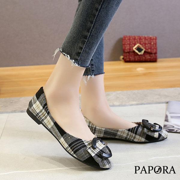 PAPORA百搭格紋包鞋娃娃鞋KK151