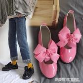 日系學院風小皮鞋女圓頭洛麗塔鏤空蝴蝶結軟妹子女鞋學生平底單鞋  英賽爾
