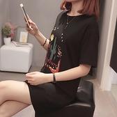 XL-4XL胖妹妹短袖T恤~912#韓版胖MM200斤加肥大碼女裝寬松中長款t恤短袖潮5F044莎菲娜