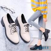 英倫風小皮鞋女2020新款百搭粗跟高跟jk鞋子學生黑色單鞋2020春季 OO7843『pink領袖衣社』