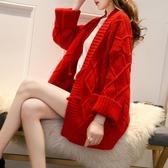 秋裝外套女開衫 寬鬆百搭慵懶風加厚針織衫學生上衣女