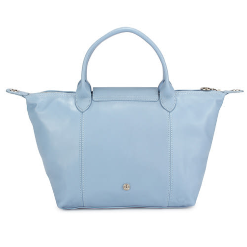 LONGCHAMP小羊皮手提肩背兩用短提把小型水餃包(淡藍色)480190-B40