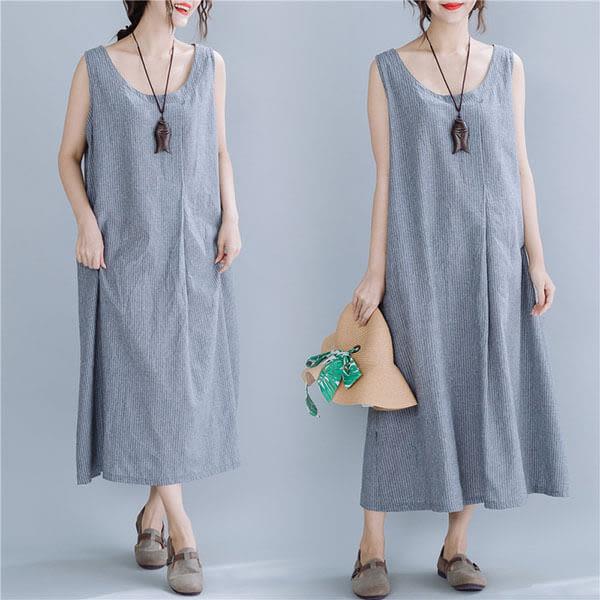 棉麻 素雅直條紋背心洋裝-中大尺碼 獨具衣格