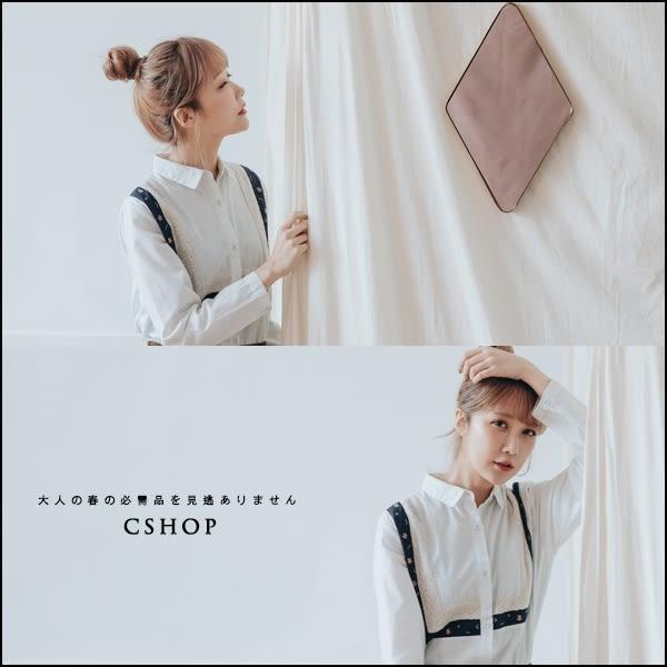 長版衫 針織刺繡圖案拼接細條長版襯衫  單色-小C館日系