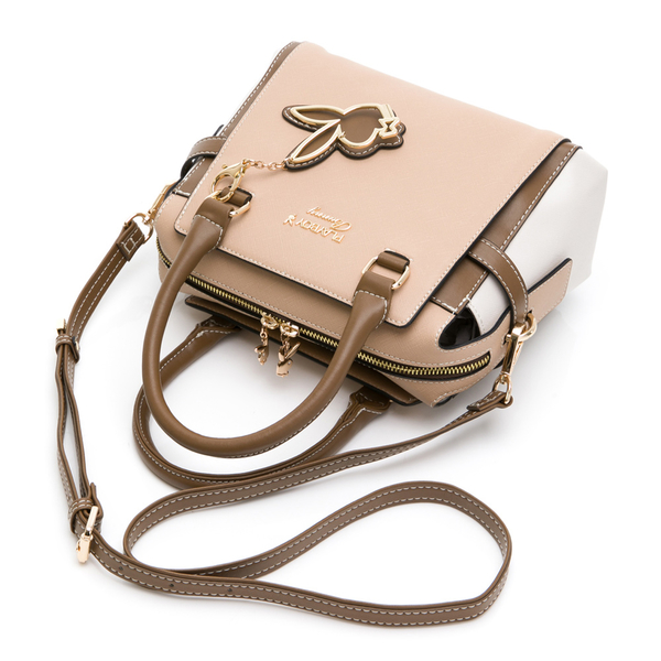 PLAYBOY- 手提包附長背帶 韶光系列 -卡其色