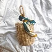 ins新款草編水桶包海邊度假包手提沙灘包圓筒包小清新復古編織包 雙十二全館免運