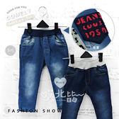 後口袋毛線繡英文字撞色褲頭牛仔長褲 3色(褲頭深藍) 男童 牛仔褲 長褲 鬆緊褲頭