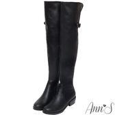 Ann'S女星美腿後V口開叉羊紋彈力皮革側拉鍊過膝長靴-黑