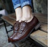 布洛克鞋 英倫風女鞋秋季新款學生ins小皮鞋百搭復古系帶韓版布洛克女單鞋 珍妮寶貝