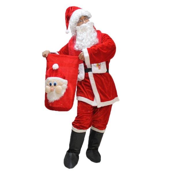圣誕節成人圣誕服圣誕老人衣服裝金絲絨圣誕服大碼圣誕老公公套裝快速出貨