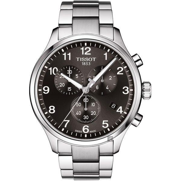 TISSOT天梭 韻馳系列 Chrono XL計時手錶-灰x銀/45mm T1166171105701