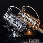鋅合金紅酒架時尚葡萄酒架擺件 不銹鋼酒托 歐式創意鍍銀色酒架igo「Top3c」