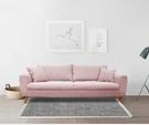 【歐雅系統家具】卓卡拉扣設計布沙發-三人座-玫瑰粉