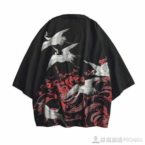 日系復古浮世繪道袍和服男中國風開衫潮流BF風襯衫外套男寬鬆襯衣 時尚潮流