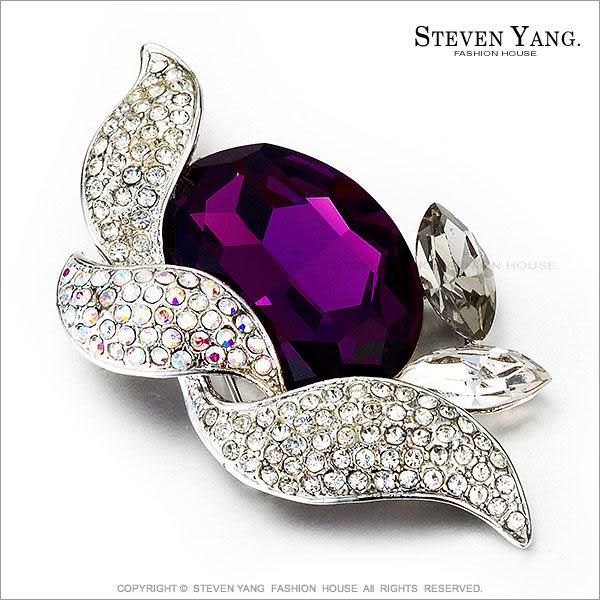STEVEN YANG正白K飾「華麗奪目」水晶別針胸針 紫色 母親節禮物