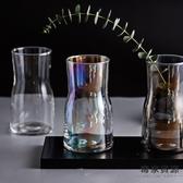 寬口簡約小花瓶玻璃插花花器漸變幻彩桌面擺件【毒家貨源】