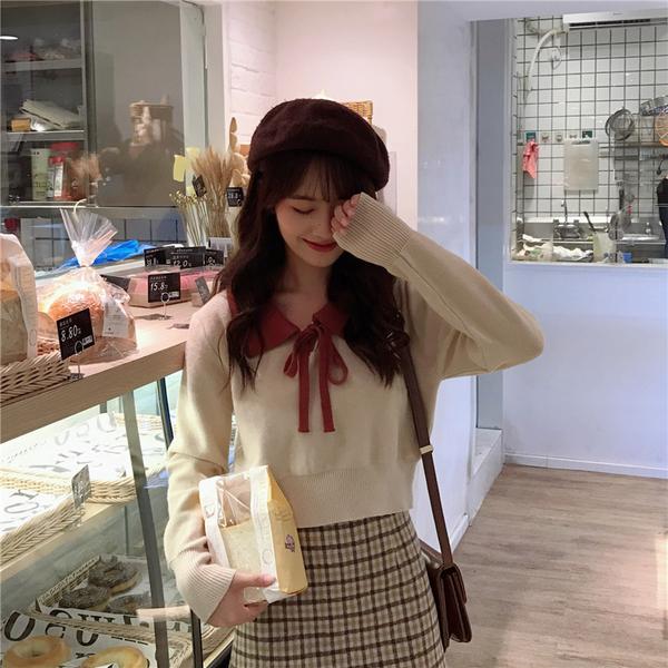 VK旗艦店 韓國風拼色平領系帶V領長袖上衣