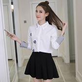 長袖襯衫襯衫女長袖加絨刷毛加厚韓范顯瘦百搭學生上衣刺繡保暖打底白襯衫