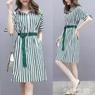 OL洋裝 雪紡連身裙女夏季新款ol氣質修身中長款條紋襯衫連身裙短袖潮 生活主義