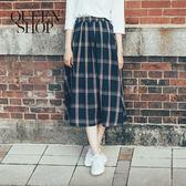Queen Shop【03020560】配色大格紋A字長裙*現+預*