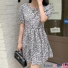熱賣大碼洋裝 可甜可鹽大碼裙子女夏季小個子胖MM顯瘦收腰復古豹紋短袖連身裙潮 coco