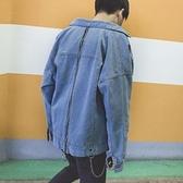 牛仔外套-翻領後背個性拉鍊裝飾男丹寧夾克73pc42[巴黎精品]