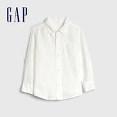 Gap男幼童 亞麻混紡翻領口袋襯衫 546037-白顏色
