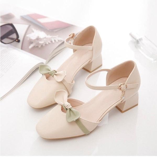 低跟鞋 仙女鞋溫柔低跟2021新款粗跟配裙子秋季高跟溫柔單鞋中跟包頭涼鞋