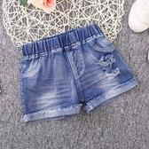 女童牛仔短褲2019新款時尚夏季破洞百搭薄款熱褲兒童褲子外穿