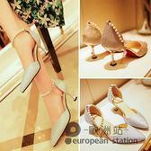 涼鞋/銀色磨砂一字扣帶中跟女中空尖頭鞋細跟高跟鞋「歐洲站」