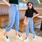 女童褲子夏季薄款兒童冰絲牛仔長褲2021新款中大童夏裝休閒九分褲 一米陽光