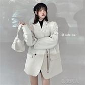 西裝外套女 2021  白色鏈條氣質開衫寬鬆 長袖~ 出貨~