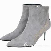 LOVE MOSCHINO 字母鉚釘麂絨山羊皮高跟踝靴(灰色) 1930125-06