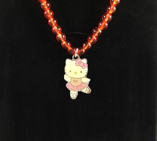 【震撼精品百貨】Hello Kitty 凱蒂貓~項鍊&手鍊組-橘