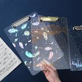 A4板夾透明資料文件夾 試卷夾學生辦公用品墊板寫字板夾【少女顏究院】
