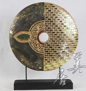 木雕工藝品 擺件 家居裝飾品圓形聚財