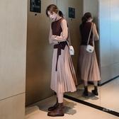 連衣裙 2019秋冬季兩件套裝長袖連衣裙新款女裝收腰氣質長款百褶裙子【快速出貨】