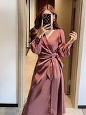 長袖洋裝 董小姐高端定制秋裝2020年新款燈籠袖長袖秋款側系帶醋酸連衣裙女