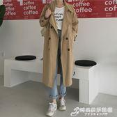 女秋裝年新款時尚大氣寬鬆翻領雙排扣中長款風衣外套氣質大衣 時尚芭莎