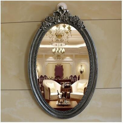 歐式浴室鏡壁掛臥室化妝鏡仿古衛生間鏡(8091拉絲銀65*40)