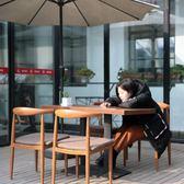 仿實木鐵藝牛角椅子奶茶甜品店桌椅簡約餐椅咖啡廳西餐廳桌椅組合【卡米優品】
