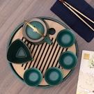 澗影日式陶瓷功夫茶具套裝家用一壺四杯干泡茶盤整套簡約客廳小套【快速出貨】生活館