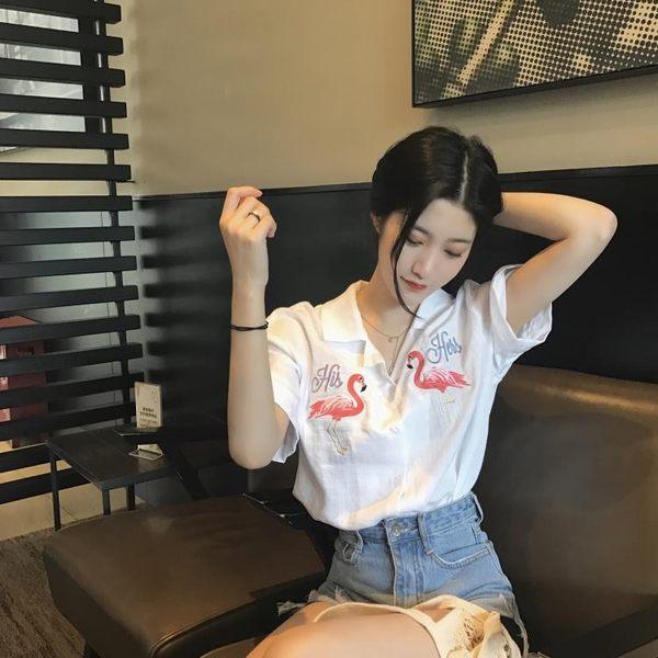 短袖襯衫 韓風Chic個性刺繡寬鬆短袖襯衫氣質小翻領單排扣上衣女襯衣    時尚教主